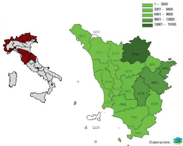 Distribuzione del Capriolo in Italia e in Toscana