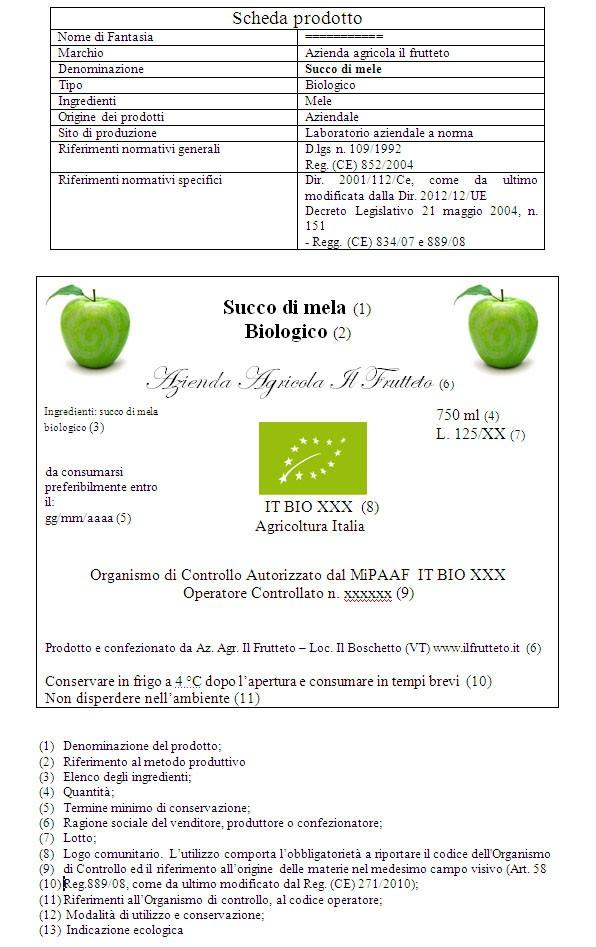 Succo di mele biologico
