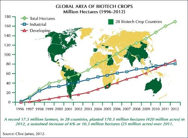 Aree mondiali destinate a biotecnologie in agricoltura