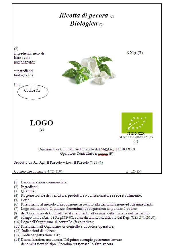 Etichetta ricotta biologica