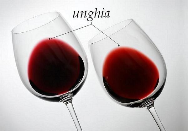 Unghia in due calici di vino