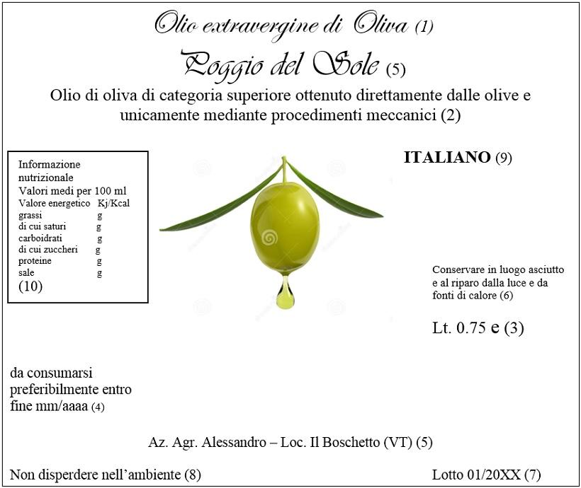 olio extra vergine di oliva legislazione