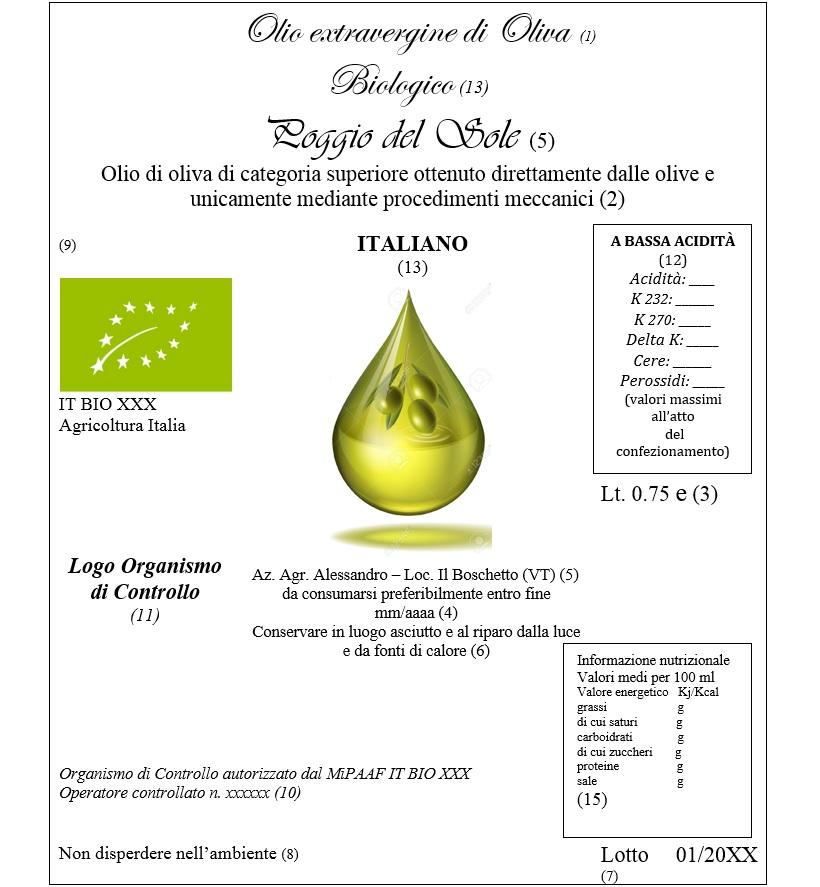 olio extra vergine di oliva biologico normativa leggi