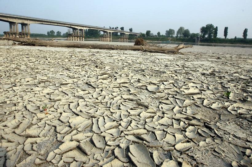 fiume po siccità inverno