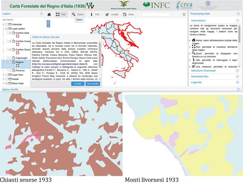 carta forestale regno italia boschi foreste