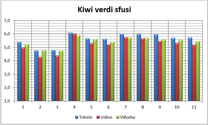 valori medi kiwi verdi sfusi