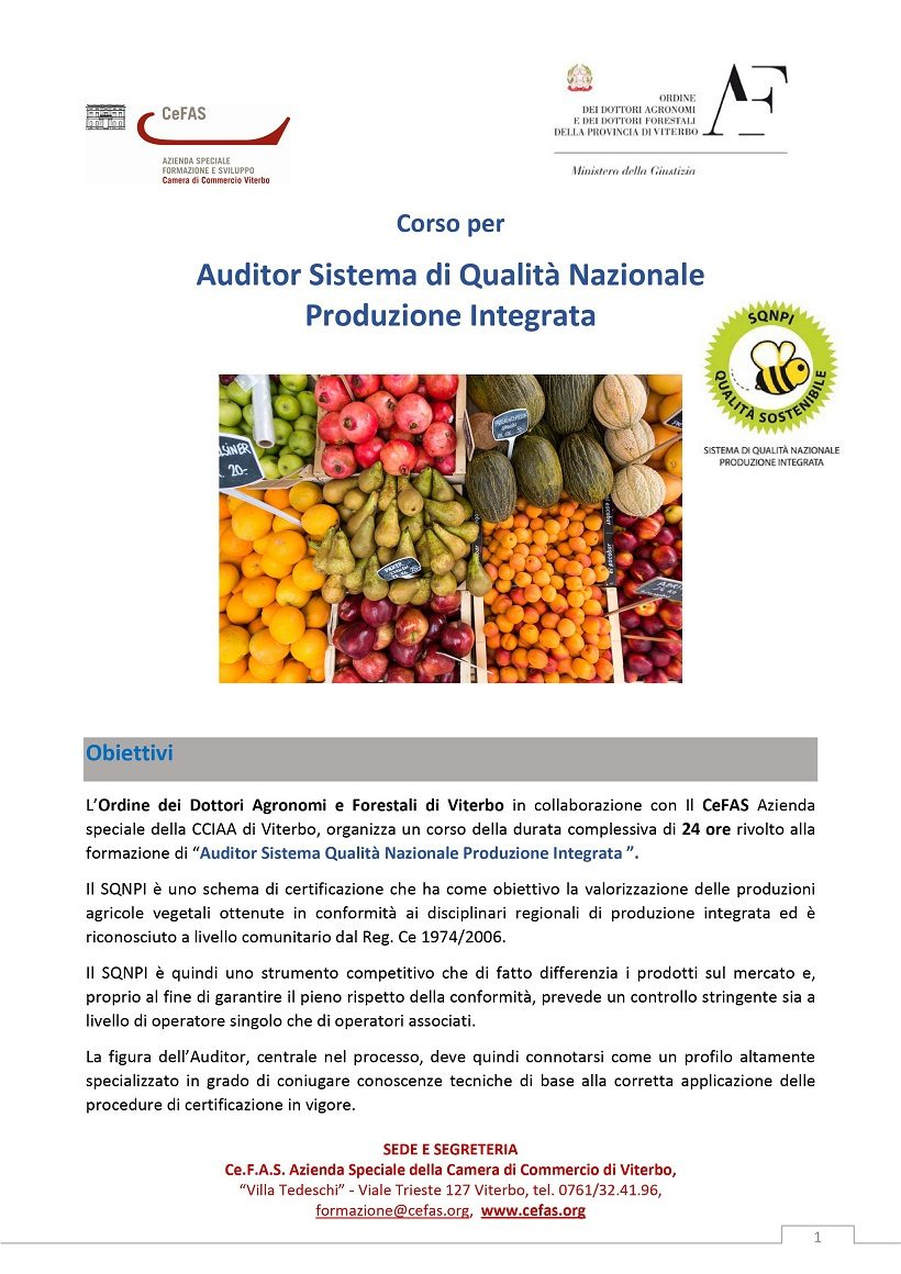 Auditor Sistema Qualità Nazionale Produzione Integrata