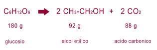 equazione fermentazione alcolica