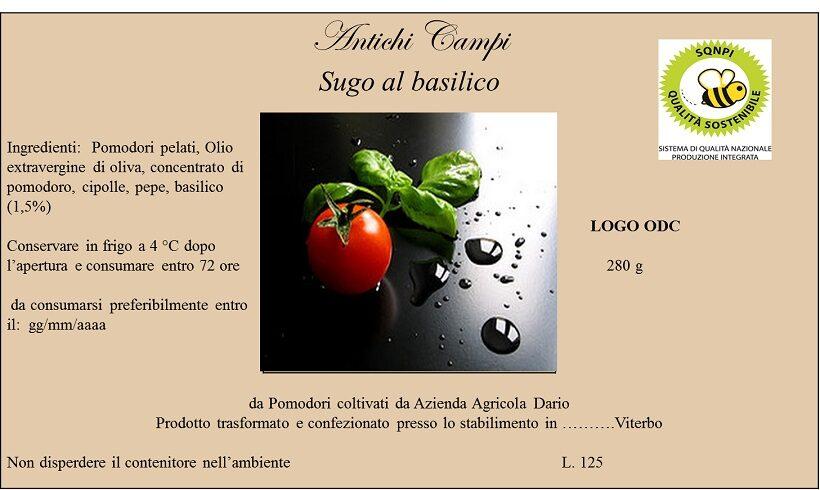 Etichetta sugo al basilico